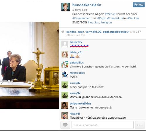 Merkel's account has been vandalized by trolls