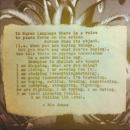 One of Rio's poems on his Instagram account.